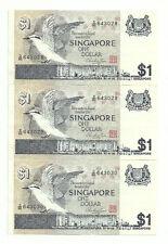 """SINGAPORE  $1x3pcs Bird Series HSS Seal Consecutive no. D86 643028 3030  """"aUNC"""""""