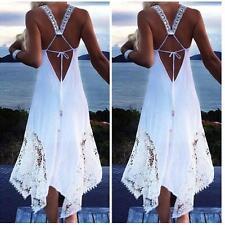 Women Sleeveless Spaghetti Strap Lace Crochet Backless Beach Boho Party Dress JJ
