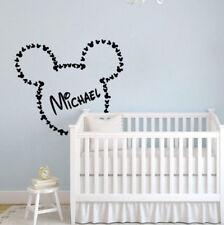 Mickey Mouse Wall Decal Name Minnie Mouse Ears Vinyl Sticker Nursery Decor KI113