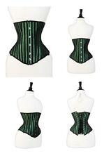 Negro Verde Brocade corsé de acero huesos con Cordones Acero Busk Bajo Busto 2XS ~ 7XL