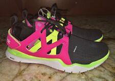 REEBOK ZCut TR Dark Grey Solar Pink Yellow Running Shoes NEW Youth Girls 7