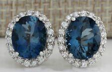 Fashion 925 Silver Oval London Blue Topaz Stud Earrings Women Wedding Jewelry