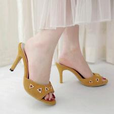 Women Slippers Mules Slip on Stiletto High Heel Open Toe Slingback Sandals Shoes