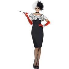 Womens Cruella Costume Black White Dalmatian Spots Dalmation Spotted Adult NEW