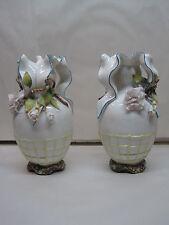 "Antique  Vases German Porcelain Hand Painted Applied Flowers & Leaves  8 1/2"""