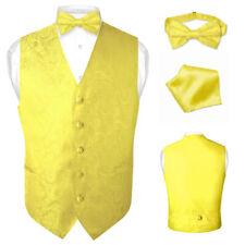 Men's Paisley Design Dress Vest & Bow Tie YELLOW Color BOWTie Set