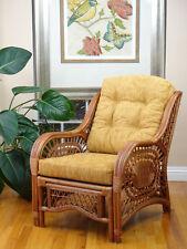 Malibu Rattan Wicker Lounge Chair with Thick Light Brown Cushion,Handmade Design