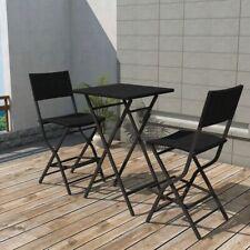 vidaXL Outdoor Bistro Set 3 Pieces Poly Rattan Black Folding Bar Table Chairs