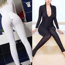 Women Sexy Striped Sheer Bodysuit Catsuits Romper 2 Zipper Long Sleeve Jumpsuit