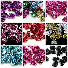 200 x 6mm Aluminium Rose Flower Spacer Beads Embellishments Craft Jewellery - ML