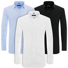 ETERNA Langarm Hemd Super Slim Fit NEU Uni Stretch weiß blau schwarz 8424.Z181