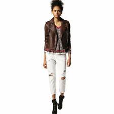 DIESEL L REVI Womens Genuine Leather Biker Jacket Size S Zipped Slim Fit Coat