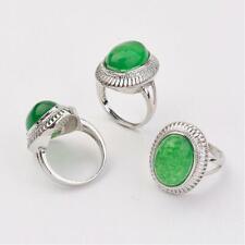 Zink Ring Malaysische Jade Oval Silber Grün Gefärbt