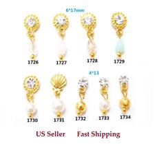 4pc New 3D Gold Shell Pearls Crystal Rhinestones Dangles Pendants Nail Art Decor