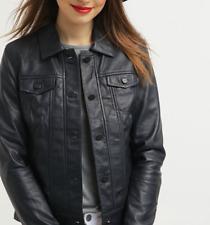 Womens Leather Jacket Black Casual Shirt Lambskin Size XS S M L XL XXL Customize