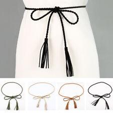 Women Skinny Thin Braided Belt Dress Faux Leather Tassel Waistband Decoration