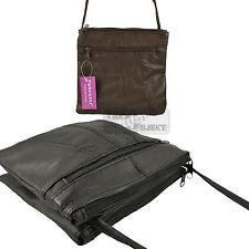 Leather Ladies Handbag Travel neck Purse Cross Body Shoulder Dual Double Zip