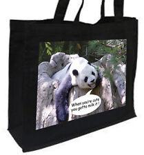 Cute Panda Cotton Shopping Bag, Choice of Colours,cream,black