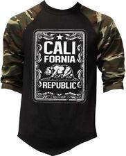 Men's California Republic Whiskey Label Camo Baseball Raglan T Shirt Cali Life