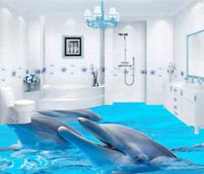 3D Smile  Dolphins 42 Floor WallPaper Murals Wall Print 5D AJ WALLPAPER UK Lemon