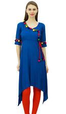 Phagun Angrakha Style Rayon Womens Long  Tunic Kurta Pom-Pom Kurti Clothing