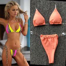 Women Clear Strap Bikini Set Neon Swimsuit Leopard Color Block Party Swimwear UK