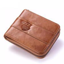 Men's Genuine Leather Wallet Zipper Short Coin Money Pocket Credit Card Holder