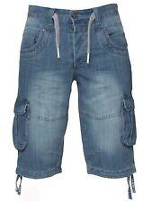 ETO EMS378 Men's Designer Light Blue Combat Casual Denim Shorts Jeans