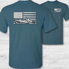 USA Snowmobile Flag T-Shirt American snowmobile shirt snowmobiler tee shirt - W