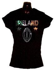 LADIES  IRELAND RUGBY T SHIRT RHINESTUD DESIGN any size8-18