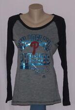 Philadelphia Phillies Womens Metallic Raglan Long Sleeve Shirt - MLB