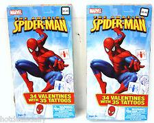 68PC AMAZING SPIDER-MAN CHILDREN'S VALENTINE CARDS WITH 70 TATTOOS SPIDER MAN