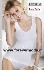 Canottiera donna MBV a spalla larga in lana seta con profili in raso art 91402