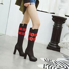 Women Platform High Heels Knight Boots Fashion Buckle Knee High Boots Shoes Club