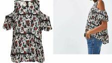 Topshop Volantes Manga Corta Estampado Floral Hombro frío a Rayas Blusa Uk Size 8