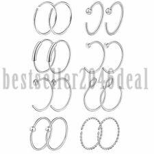 Rings Studs Tragus Cartilage Lip Piercing 16Pcs 20G Stainless Steel Hoop Nose