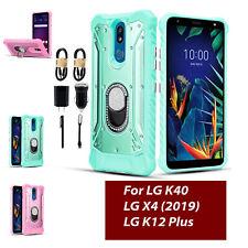Bundle+ For LG K40/ LG K12 Plus/LG X4 2019 RIng Kickstand Metal Diamond Case