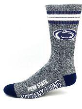 Penn State Nittany Lions NCAA Four Stripe Heather Gray Navy Crew Socks
