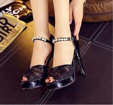 Zapatos zapatillas sandalias tacón alto 11.5 cm negro cómodo élégant 9306