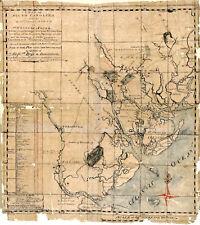 1771 South Carolina Map Real Property Plantations Genealogy Home School Poster
