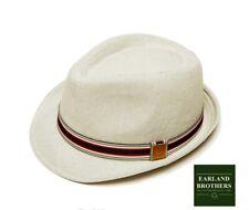 BNWT Summer Trilby Hat Linen Mix Lightweight 95g Pork Pie Small Brim Stripe Band