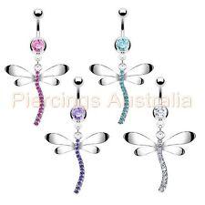 Fancy Dragonfly Belly Button Bar Navel Ring Dangle Body Piercing Jewellery