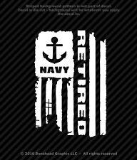 Distressed Navy Retired Flag Vinyl Decal Military Window Sticker - 4 Sizes