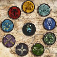 "Skyrim Holds Shield Pinbacks Game Logo Button Tinplate 58mm/2.2"" Badges We Know"
