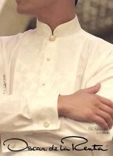 Ivory Allure Banded Collar Formal Shirt by Oscar de la Renta
