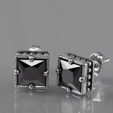 silver earrings princess cut simulated diamond 2ct stainless steel stud