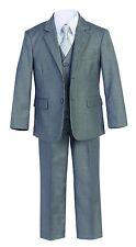 Magen Boys gray suit 5 pcs set coat,vest,pant,shirt,clip tie BS-1A Size 1-18