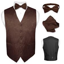 Men's Paisley Design Dress Vest & Bow Tie  BROWN Color Set for Suit or Tuxedo