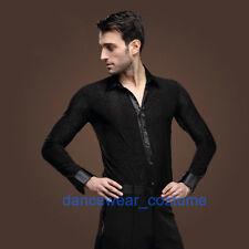 New Men's Party Ballroom Latin Tango Rhythm Salsa Dance Shirt Tops S/M/L/XL/XXL
