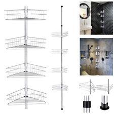Stainless Steel Telescopic Shower Caddy Bathroom Corner Shelf Tidy Basket 4 Tier